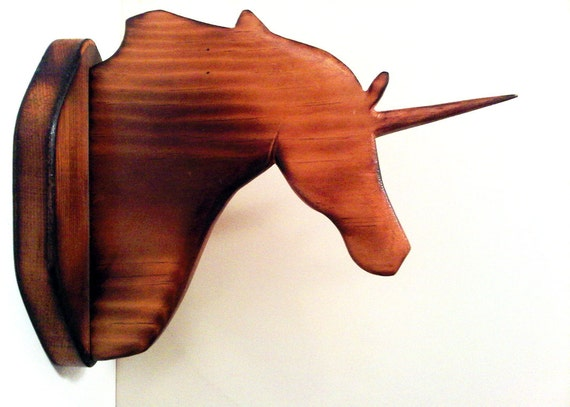 Hand Carved Wooden Unicorn wall head mount, vintage 70s era.