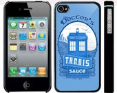Doctor who parody Tardis sauce factory iphone 4 4s case black or white colour case