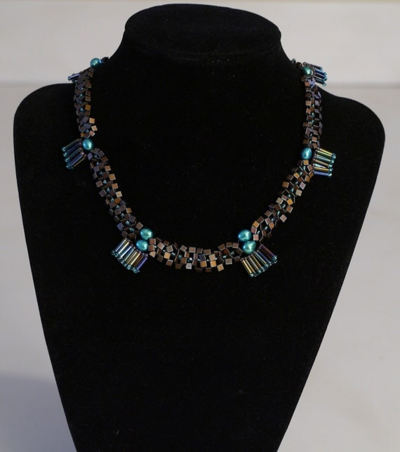 Freshwater Teal Pearl and Glass Bead Necklace-One Of A Kind