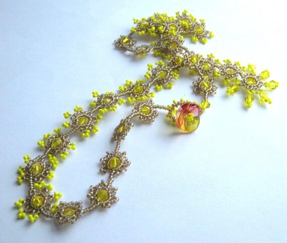 Statement Bright Yellow Necklace, Beadwork OOAK