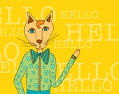 Hello Cat card 5x7""