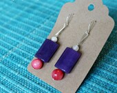SALE earrings: purple quartzite, ruby shell and palest green marble