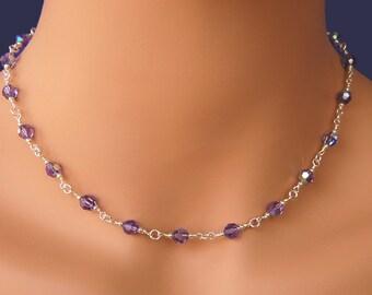 Wedding Jewelry Crystal Necklace Bridesmaids Necklace Swarovski Crystal Necklace