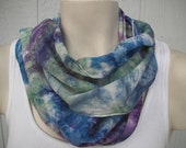 """Hand dyed blue, green, and purple silk scarf 8"""" x 54"""""""