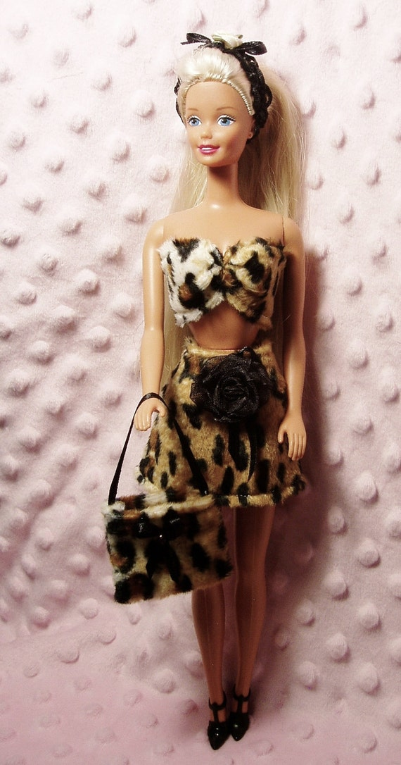 Barbie clothes - Leopard Print Skirt, Top, Purse, Shoes and Hair band.