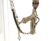Edwardian Silver plated antique heart and tassle albertina Bracelet watch chain