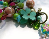 Cha Cha floral bracelet -- leather daisies, very one of a kind