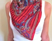Red Paisley Scarf with Aqua, Purple and Gold Contrast