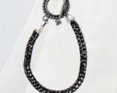 Bracelet Black Viking Weave Woven Wire