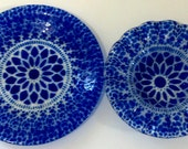 Set of Two Cobalt Blue Art Glass Plates Ruffle Clear Bowl Scalloped Edge
