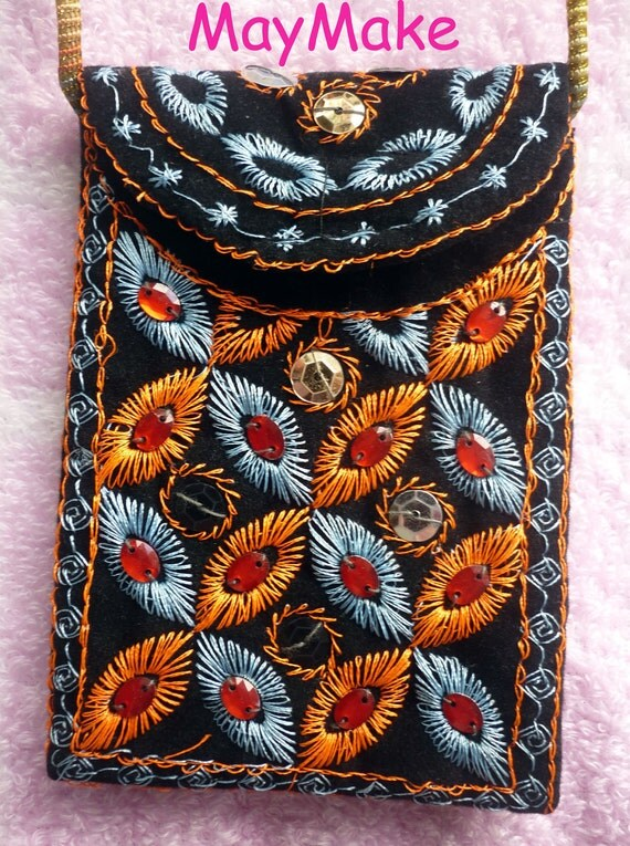 Cell phone bag with long strap,Gift pouch, iPhone bag.