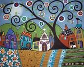 Polka Dot Church Folk Art Village Karla Gerard Canvas ACEO - Art Card Print