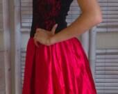 Ladies Vintage 80s prom party dress black lace burlesque size 8 10