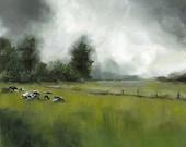 "Original Painting - landscape painting- ""Holsteins""-cows in Vermont field, original art"