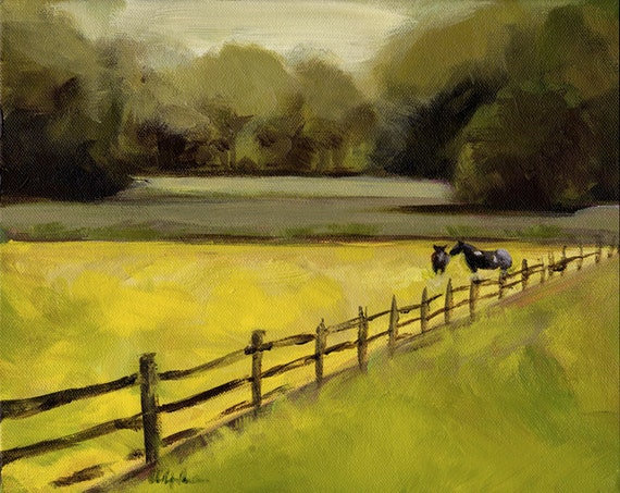 Original Landscape with horses Painting - Buttercup Field