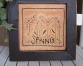 Primitive Stitchery Spring Flowers- spring, April, Easter decorating