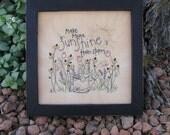 Primitive Stitchery Sunshine- flowers, Easter, summer, spring decorating, gift
