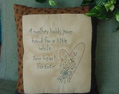 Primitive Stitchery Mother- mother's day, mom, birthday, baby, shower, decorating, gift