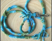 Hand woven dog leash made from upcycled t shirt yarn