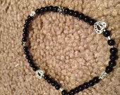 Black and Silver Beaded Bracelet-- Has Matching Earrings