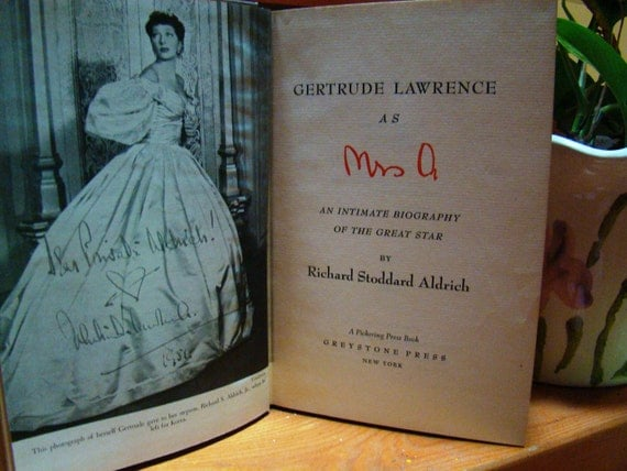"""GERTRUDE LAWRENCE as """"Mrs. A"""", 1954 Biography"""