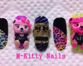 3D pink teddy bear KAWAII nails
