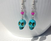 Aqua Stone Skull Earring with Hot Pink Bead
