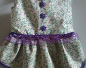 Pretty small Dog Dress - Purple Flowers and Tulle Chihuahua 40.5cm x 25.5