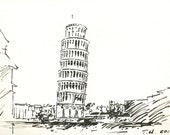 Original Marker Portraits (Leaning Tower of Pisa) - 8 in x10 in - Empower Chinese Orphans with Education Project