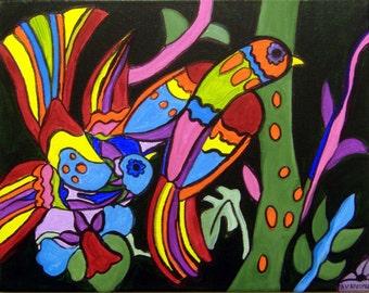 "ORIGINAL PAINTING-Mexican Folk Art-2 Tropical Birds- by A.V.Apostle-11""X14"""
