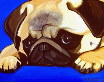 DOG  PRINT- Pug Dog- Blue Background- Signed by Artist A.V.Apostle