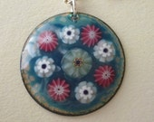 Turquoise Sea Anemone Pendant - Kiln Fired Enamel on Copper with Millefiore Beads - OOAK