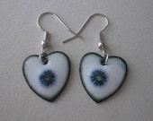 Snow Flower Earrings - Heart - Kiln Fired Enamel on Copper and Millefiore Bead- OOAK