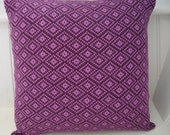 Knitted cushion in purple and orchid 'Lozenge' design: Custom order