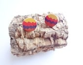 Back to 90s red red brown yellow purple geometric tribal wood earrings