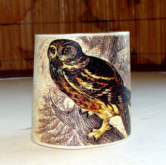 Night Owl Painted Brass Cuff, Victorian Art Transfer, Earth colors, Totem Cuff