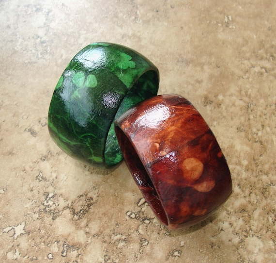 Eco Friendly Handmade Sun Print Lokta Paper Decoupage Chunky Wood Bangle Pair, green and brown.