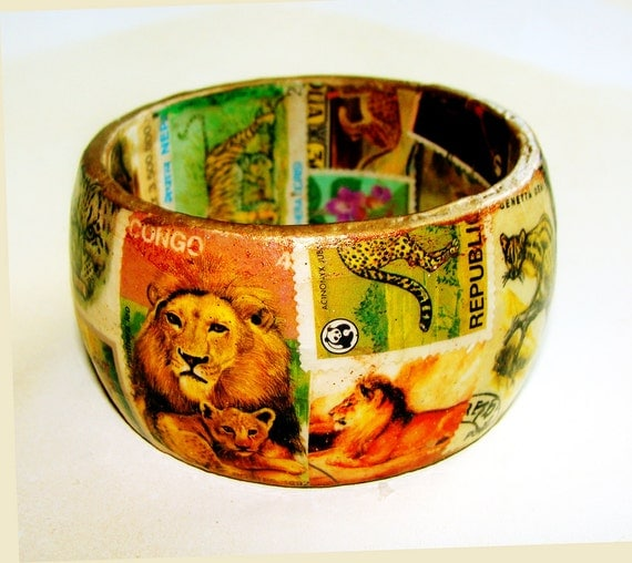 Jungle Cats Postage Stamp Decoupage Chunky Bangle