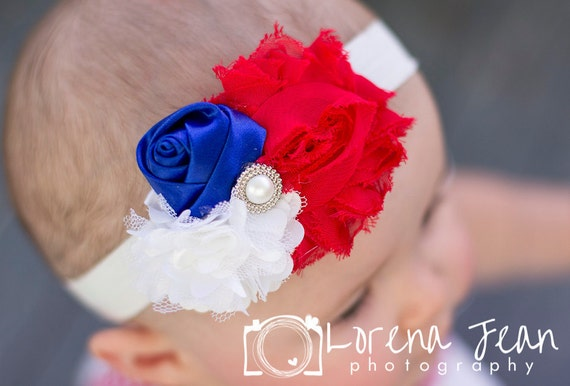 4th of July Trio Headband, Baby girl triple Satin mesh Tulle Flower Rosette 0-3 6 9 12 24 toddler bow newborn pearl rhinestone bow center