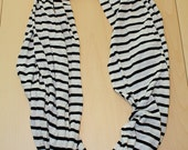 Jersey Knit Circle Scarf - Black and Cream Stripe
