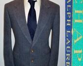 MOD CHAPS: Ralph Lauren Tweed Vintage Mens 1980s Blue Blazer Sport Coat 42 R 42r