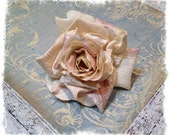 Silk Flowers - ONE Deluxe Silk Velvet Rose - Ivory & Pinks - Artificial Roses