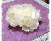 Silk Flowers - ONE Large Silk Peony in Ivory & Buttercreams - Artificial Peonies