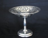 Antique Silverplate Pierced Compote or Candy Dish