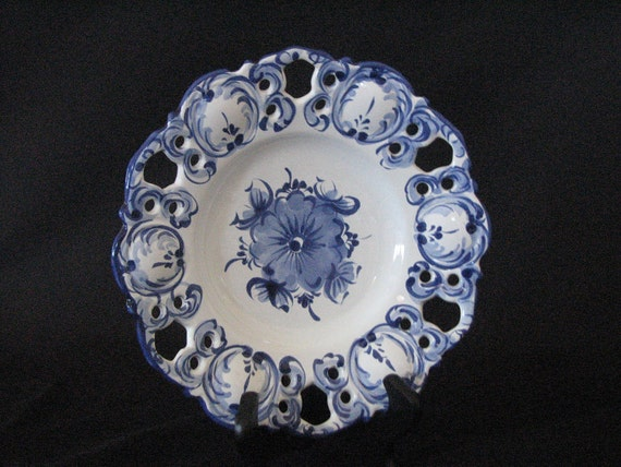 Decorative Pierced Blue and White Plate