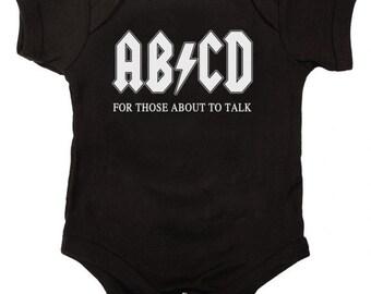 AB/CD Funny Baby One Piece Bodysuit Romper in Black