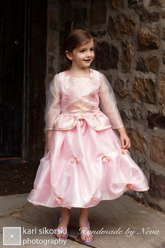 Princess Girl Dress for play, Cinderella or disney costume in pink, blue or gold
