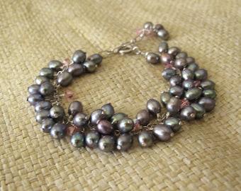 Blue Freshwater Pearl Bracelet, Bridal Bracelet, Bridesmaid Bracelet, Blue Pearl Dangle Bracelet With Swarovski Crystal In Sterling Silver