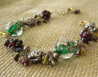 Freshwater Pearl, Handmade Glass Beads, Garnet Clusters Mixed Semi-Precious Stones Bracelet Sterling Silver
