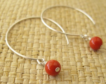 Red Coral Earrings In Hand Forged Sterling Silver Hoops